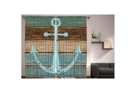 anchor  rustic wood living room curtain