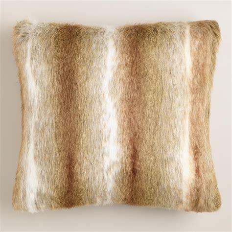 faux fur decorative pillows brown faux fur throw pillow world market