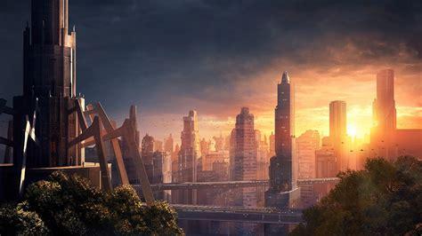 wallpaper sunlight digital art sunset cityscape