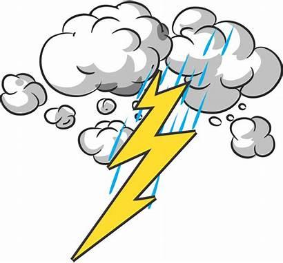 Thunder Lightning Clipart Cartoon Clip Thunderstorm Rain