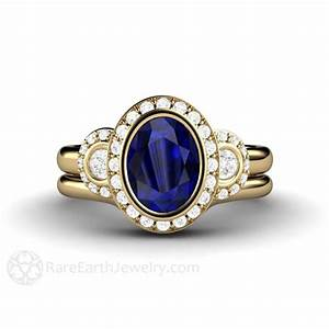 blue sapphire bridal wedding ring oval antique 3 stone With rare earth wedding rings