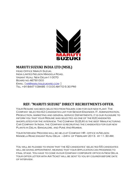Suzuki Certification by Maruti Suzuki India Call Letter