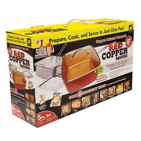 red copper square pan  piece set fry pan walter drake