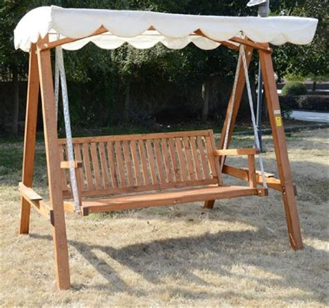 outsunny 3 seater wooden garden swing chair seat bench