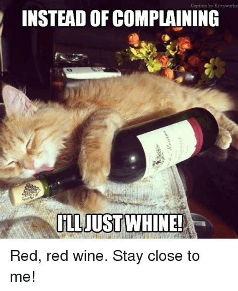 Red Wine Meme - caption by kitty works instead of complaining ill just whine red red wine stay close to me