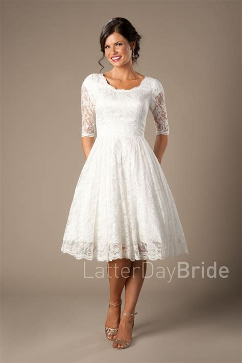 quinn modest wedding dresses   tea length