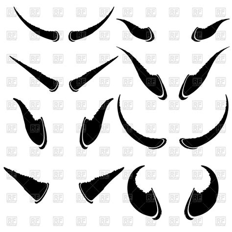 Horns Clipart Set Of Animal Horns Isolated On A White Background Royalty