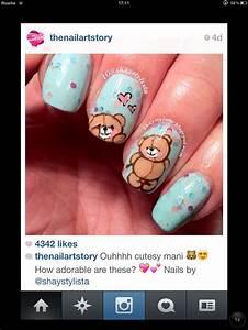 Teddy bear nail art | [Stylish Nails] | Pinterest