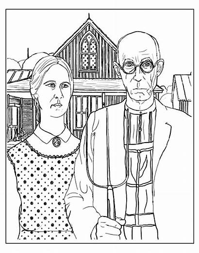 Coloring Gothic Adult American Grant Wood Famous