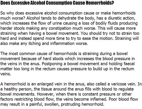 Alcohol And Hemorrhoids Bleeding Does Excessive Alcohol