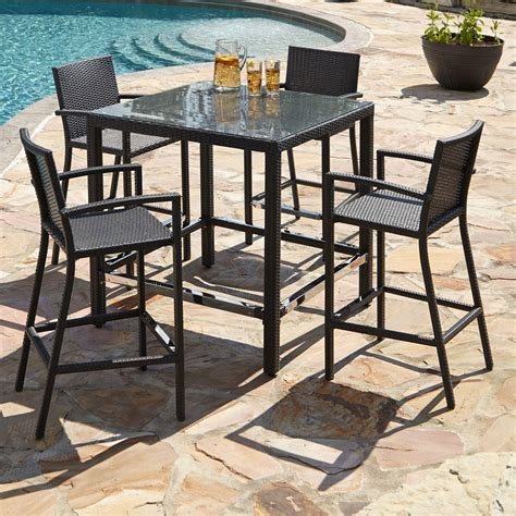 patio bar furniture michio resin wicker 5 bar table and arm
