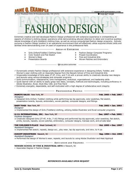 Fashion Designer Resume fashion designer resume exle resume templates