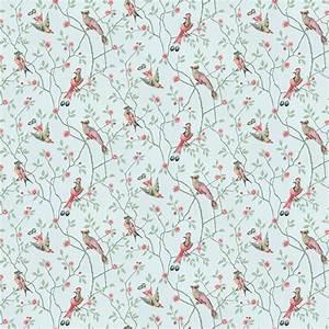 Papier Peint Japonisant : papier peint eugen oiseaux et fleurs rouges sur fond ~ Premium-room.com Idées de Décoration