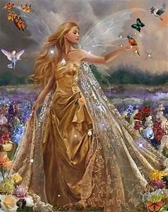 magical day woman in golden princess dress with silvery With katzennetz balkon mit fantasy fields magic garden