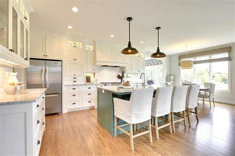 green blue kitchen island  gray  white granite
