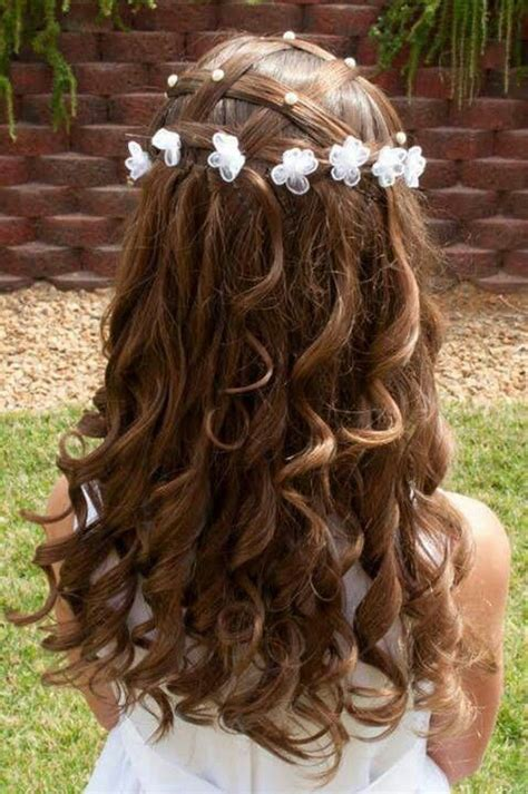 super cute  girl hairstyles  wedding deer pearl flowers