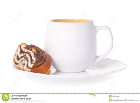 A Cup Of Tea With A Cake Royalty Free Stock Image   Image