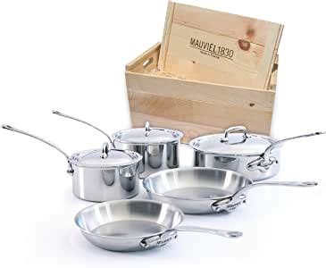 amazoncom mauviel   france mcook wc crated  piece set  cast stainless steel