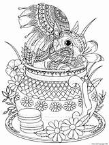 Coloring Squirrel Adult Teapot Printable sketch template