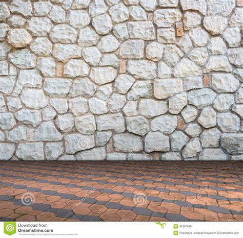 Stone Wall On Cement Brick Floor Interior Modern Style