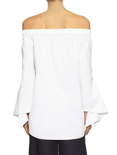 slit side top lyst tibi neo the shoulder cotton poplin top in white