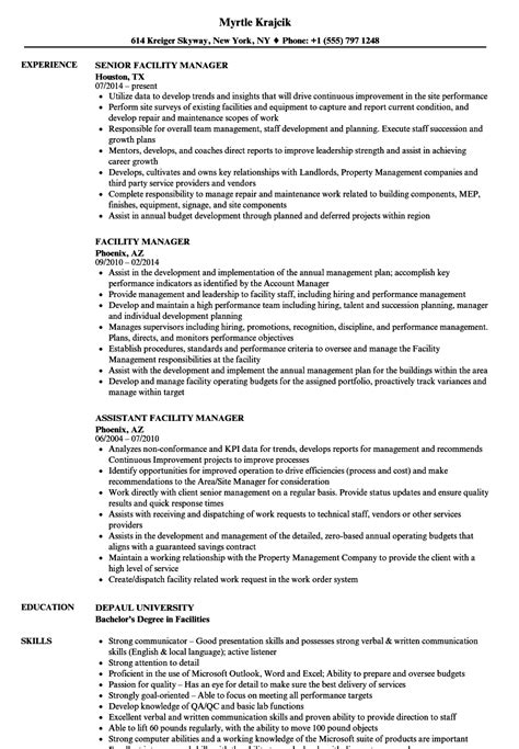 Facility Manager Resume by Facility Manager Resume Sles Velvet
