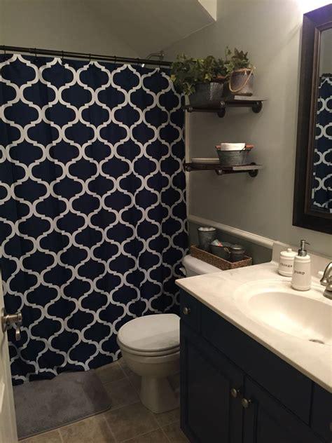 boys bathroom remodel industrial decor grey  navy