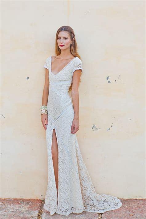 alexandra lace bohemian wedding dress dreamers  lovers