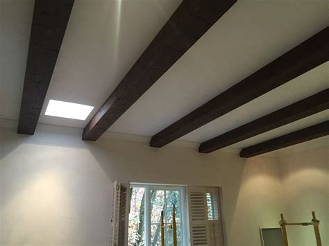Faux Beams Stained With A Waterbased Deck Stain And