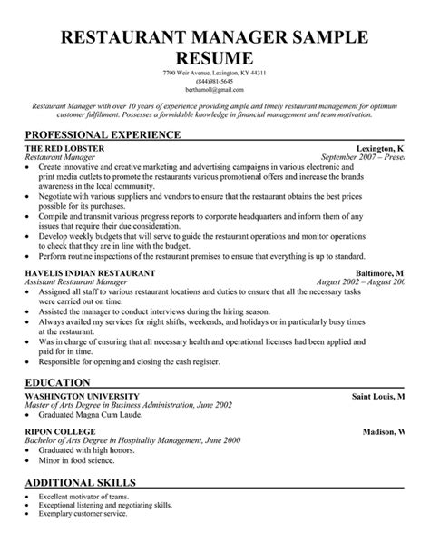 Work Experience Resume Sle Restaurant by Restaurant Manager Resume Template Business Articles