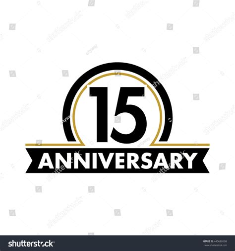anniversary vector unusual label fifteenth year stock