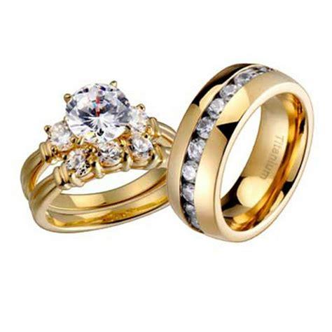 wedding rings  pcs engagement cz sterling