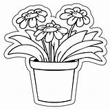 Pot Flower Clay Outline Drawing Magnets Custom Shaped Pots Easy Flowerpot 3x3 Mil Designs Shapes sketch template
