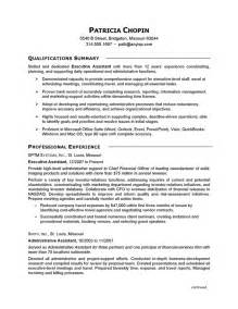 assistant resume exles resume exle executive assistant careerperfect