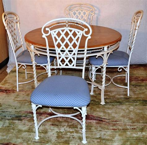 wrought iron kitchen chairs white painted wrought iron and maple top kitchen table