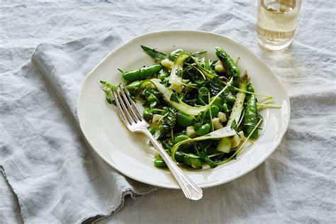 fava bean salad asparagus raw pecorino fresh pea herbs beans recipe recipes food52 bobbi lin