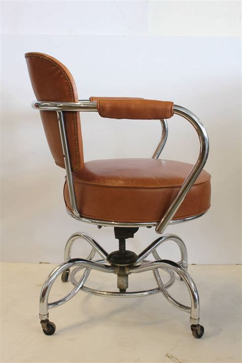 stylish deco leather and chrome desk chair at 1stdibs