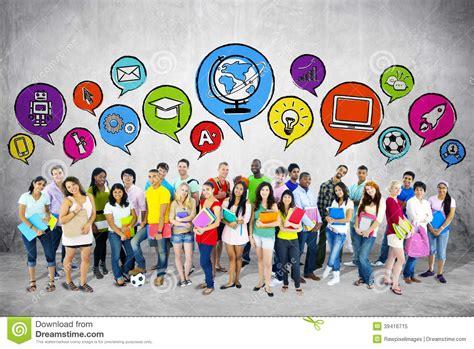 group  students  speech bubble stock image image