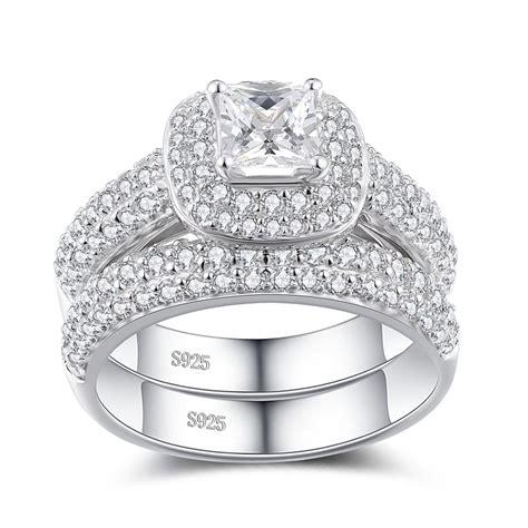 princess cut white sapphire sterling silver women s bridal
