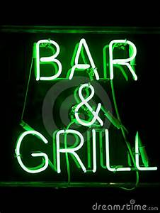 Bar And Grill Neon Sign Stock Image