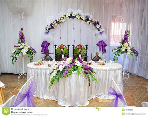 dining table seats 8 10 wedding table decoration and groom stock photo