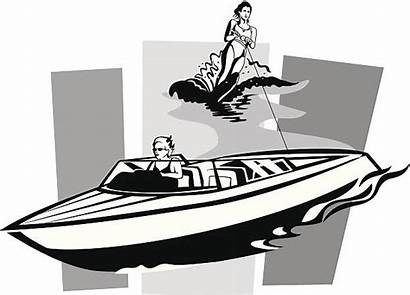 Water Skiing Vector Speedboat Illustrations Clip Illustration