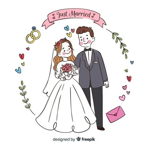 hand drawn wedding couple background fre  vector