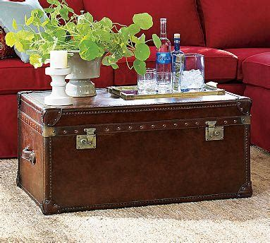 pottery barn leather coffee table pottery barn expedition trunk look 4 less