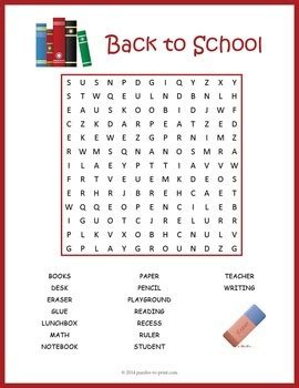 school word search puzzle  puzzles  print tpt