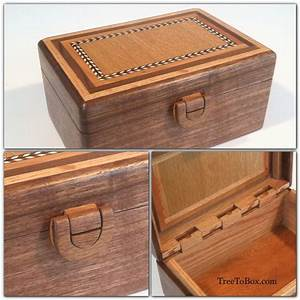 Wooden latch, wooden hinge and wooden box with inlaid