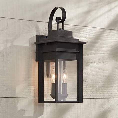 2 light outdoor wall sconce bransford 17 quot high black specked gray outdoor wall light