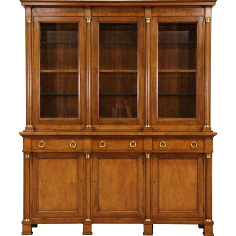 Baker Breakfront China Cabinet by Baker Signed Vintage Cherry Breakfront Bookcase Or China