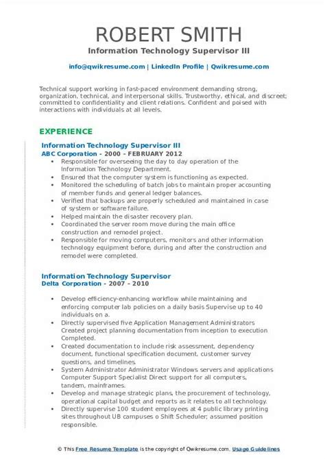 information technology supervisor resume samples qwikresume