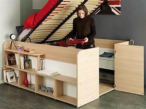 Lit Mi Hauteur Avec Rangement : lit 1 place avec rangement maison design ~ Premium-room.com Idées de Décoration